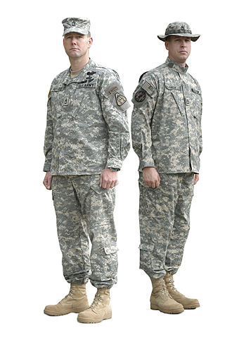 Universal Camouflage Pattern - Two soldiers in 2005 wearing the Army Combat Uniform in the Universal Camouflage Pattern