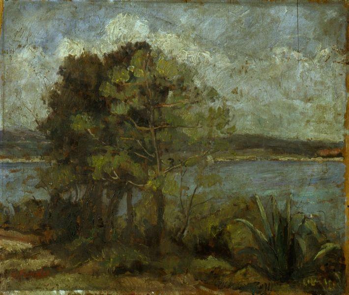 File:Artgate Fondazione Cariplo - Fonda Enrico - Brioni o Paesaggio con alberi e mare.jpg
