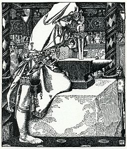 The story of Arthur drawing the sword from a stone appeared in Robert de Boron's 13th-century Merlin. By Howard Pyle (1903) Arthur-Pyle How Arthur drew forth ye sword.JPG