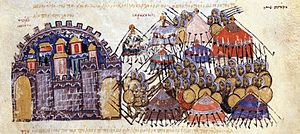 Katakalon Kekaumenos - Depiction of the 1040 siege of Messina, defended by Kekaumenos, from the Madrid Skylitzes