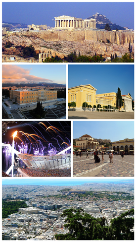 Athens montage. Clicking on an image in the picture causes the browser to load the appropriate article.