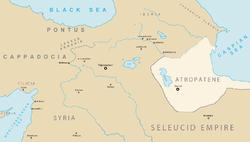 Карта СМИ Атропатенский и соседние страны в 1-м веке до н.э.
