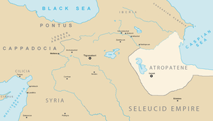Atropatene - Map of Media Atropatene and neighboring countries in 1st century BC