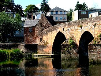 Dumfries - Devorgilla Bridge with Old Bridge House Museum at the end of the furthest span from the camera