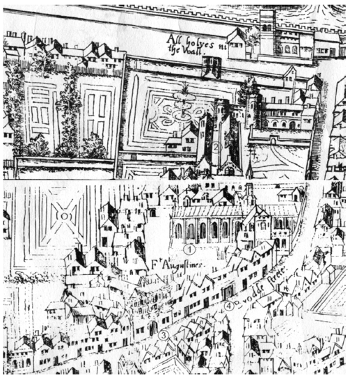 Depiction of Austin Friars, London, burial place of Sir Thomas Tuddenham, circa 1550 Austin Friary copperplate map.png
