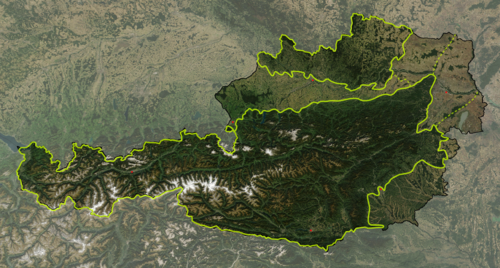Satellite image of the Geographical regions of Austria. Austria satellite Grosslandschaften markerstyle.png