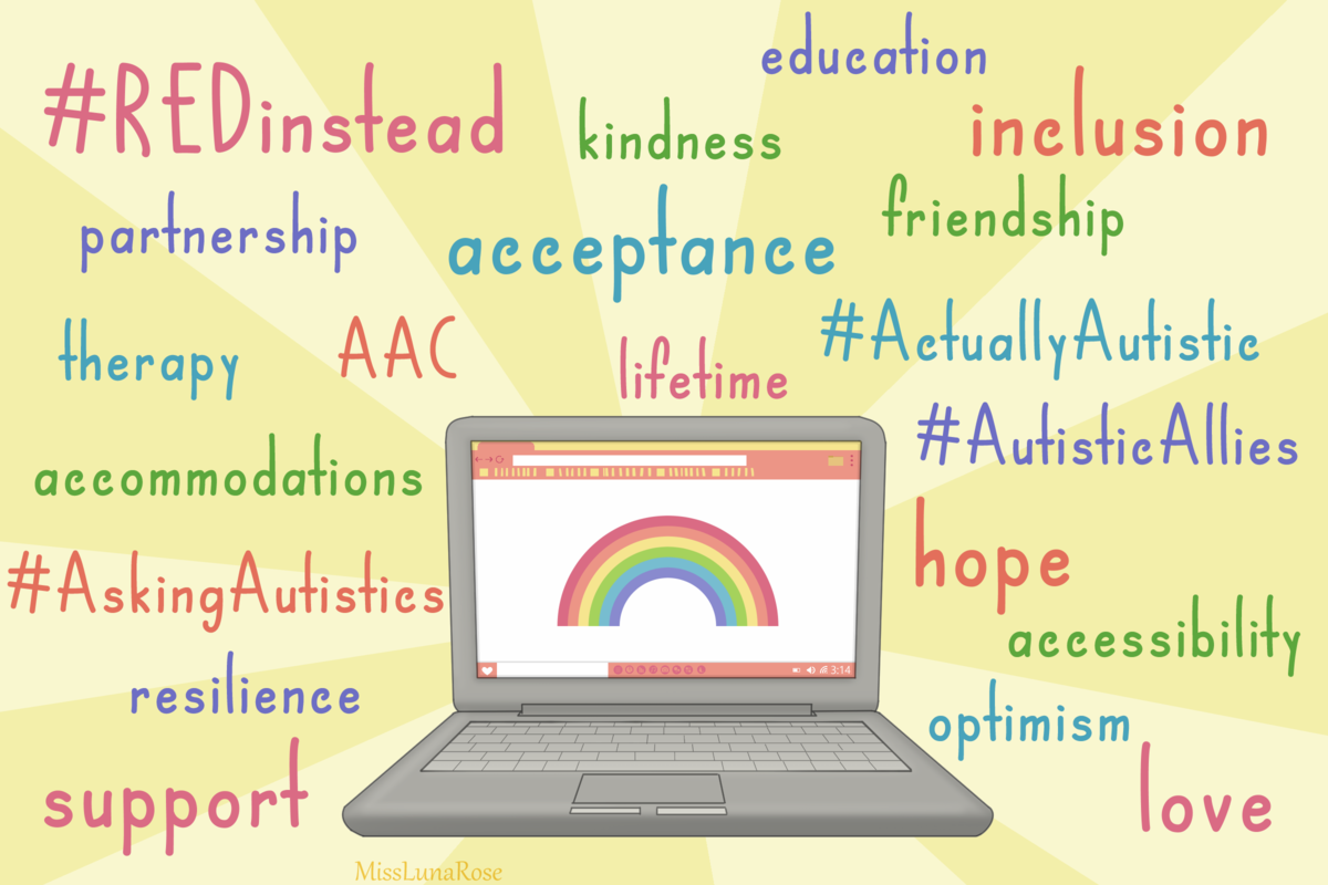 A drawing of a laptop with a rainbow on it surrounded by positive words related to the Autistic community
