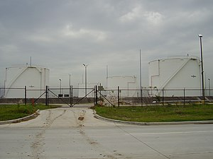 Aviation fuel - Aviation fuel storage tanks at George Bush Intercontinental Airport, Houston, Texas.