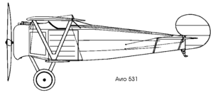 Avro 531 Spider - Image: Avro 531 left