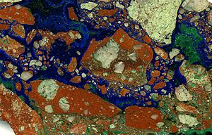 Breccia - Unusual breccia cemented by azurite and malachite, Morenci Mine, Arizona