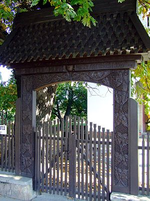 Carving - A carved Székely gate