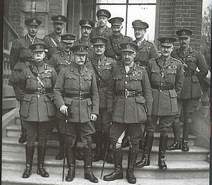 British Army during World War I - Sir Douglas Haig with his army commanders and their chiefs of staff, November 1918. Front row, left to right: Herbert Plumer, Haig, Rawlinson. Middle row, left to right: Byng, Birdwood, Horne. Back row, left to right: Lawrence, Kavanagh, White, Percy, Vaughan, Montgomery, Anderson.