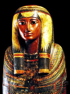 National Museum of Brazil - Sarcophagus and mummy of Sha-amun-en-su. Third Intermediate Period, XXIII Dynasty, c. 750 BC.