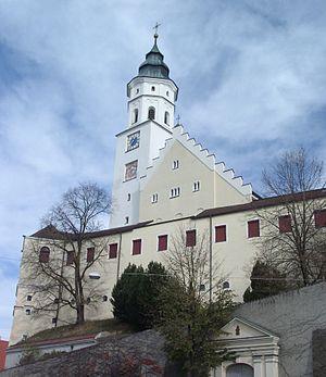 Babenhausen, Bavaria - Fugger Castle and Sankt Andreas Church overlooking Babenhausen.