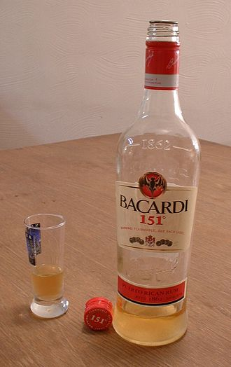 Bacardi 151 - A partially filled bottle of Bacardi 151