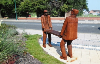 South Bank, North Yorkshire - Bad Back: a sculpture for the new Eco-Village, by Ray Lonsdale.