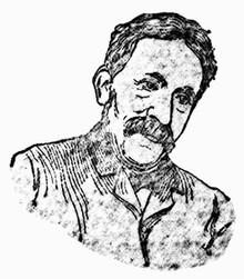 Head and shoulders sketch of a middle-aged man, more or less full face, head tilted to the right; with a substantial moustache but no beard; wearing a jacket.