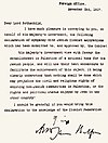 The Balfour Declaration, contained within the original letter
