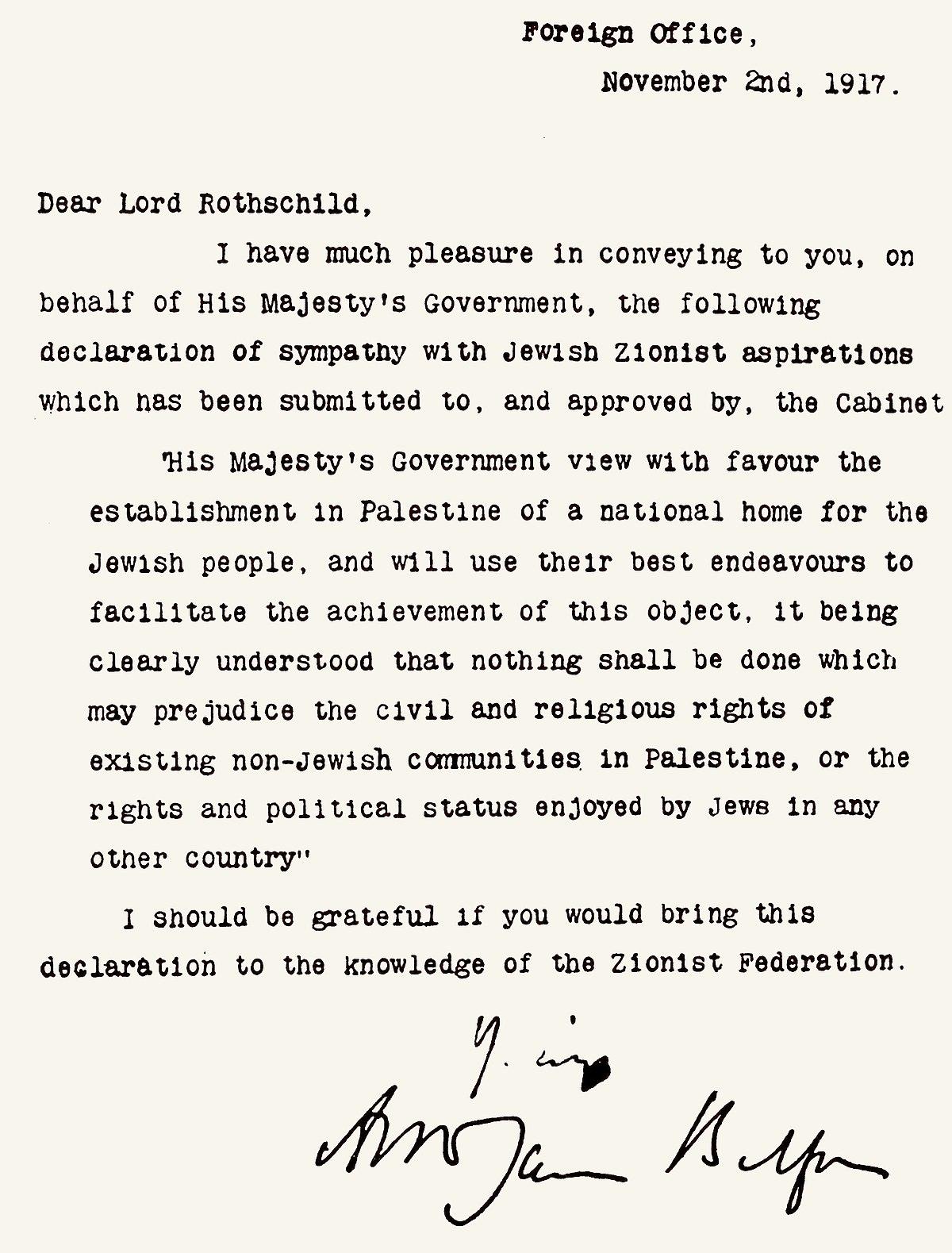 Déclaration Balfour de 1917 — Wikipédia