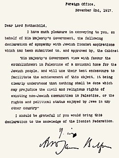 "Balfour Declaration A letter written by Arthur Balfour in support of a ""national home for the Jewish people"""