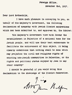 Balfour Declaration - The Balfour Declaration, contained within the original letter from Balfour to Rothschild