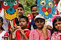 Bangladeshi children with Pohela Boishakh placard at Pohela Boishakh celebration (03).jpg