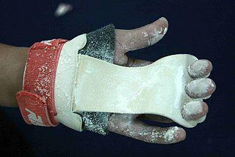 Grip (gymnastics) - A bar grip (front view).