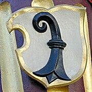 Basler Wappen mit dem Baselstab (Bischofsstab)