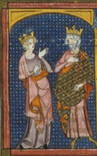 Basina of Thuringia - 13th century depiction of Basina and Childeric I.