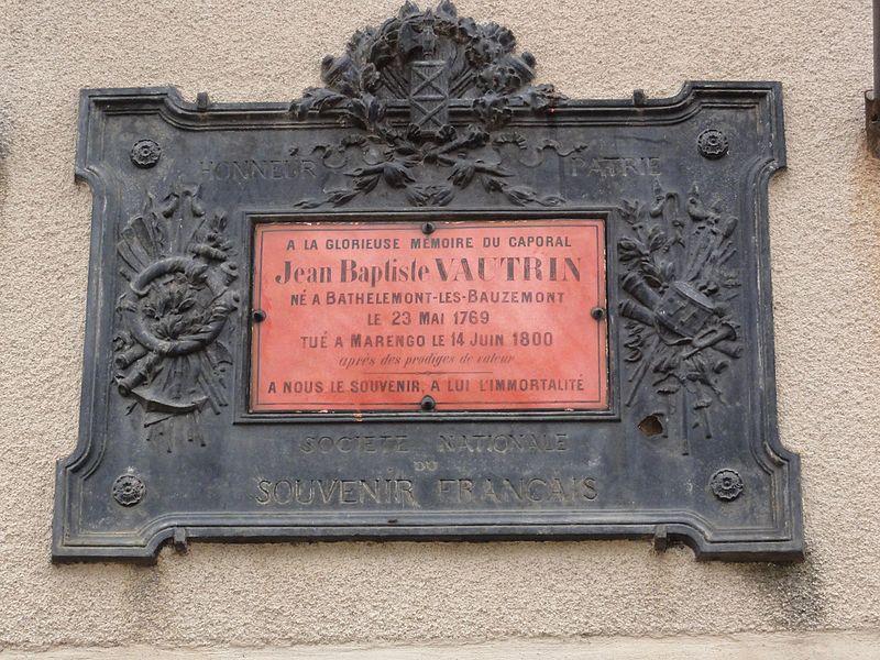 Bathelémont (M-et-M) plaque caporal Vautrin, Marengo 1800