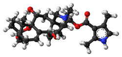 Ball and stick model of batrachotoxin