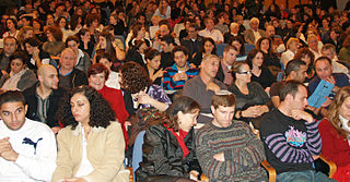 Audience group of people who participate in a show or encounter a work of art