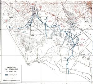 Battle of Cisterna - Allied plan of attack and force dispositions at Cisterna 30 January 1944.