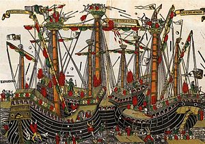 Ottoman Navy - The Battle of Zonchio in 1499.