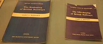 Beeching cuts - A copy of The Reshaping of British Railways report, displayed beside the National Union of Railwaymen's response pamphlet