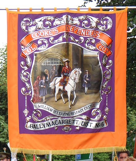 A modern Orange Banner representing the Cooke's Defenders Lodge 609, Ballymacarrett District number 6 Belfastbanner.jpg