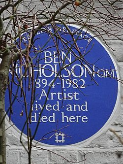 Ben nicholson o.m. 1894 1982 artist lived and died here