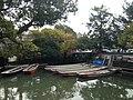 Berth for boats of Yanagawa River Tour near Ohana Hotel from Bungobashi Bridge 2.JPG