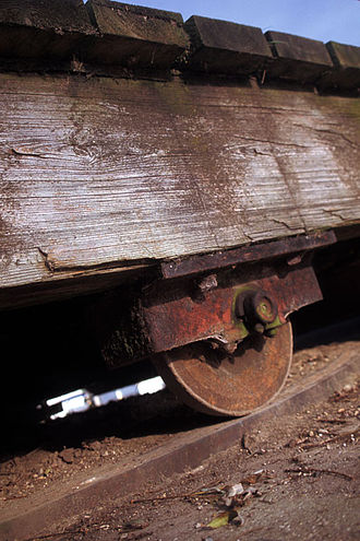 Bethells Bridge - One of the original cast iron wheels before removal