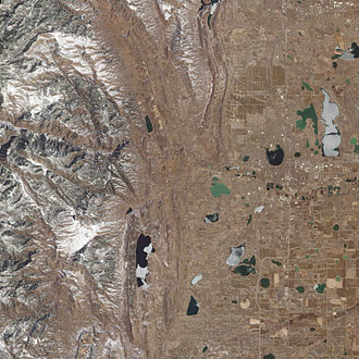Big Thompson River - This natural-colour image of the lower reaches of Big Thompson Canyon illustrates two of the three natural factors that contributed to the flood's severity: steep terrain and sparse vegetation