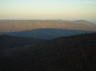 Tuscarora Mountain - The shadow of Tuscarora Mountain on Kittatinny Mountain to the east, photo taken from summit
