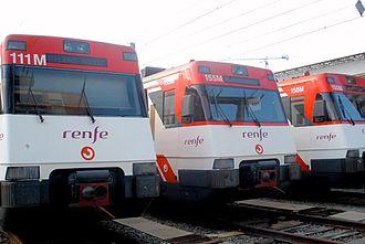 Cercanías Bilbao - Three UT446 units at Bilbao-Abando depot.