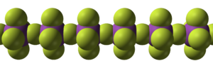 Bismuth pentafluoride - Image: Bismuth pentafluoride chain from xtal 1971 3D SF
