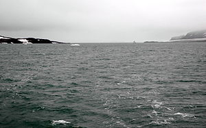 Wilhelm Island - Bjørnsundet, a sound between Olav V Land (left) and Wilhelm Island (right)