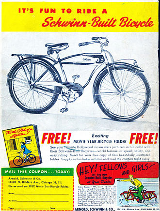 Cruiser bicycle - Schwinn advertisement from 1946