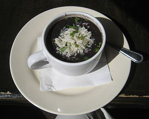 Cup of black bean soup, Ruby Slipper restauran...