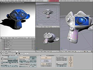 Computer graphics - A Blender 2.45 screenshot, displaying the 3D test model Suzanne.