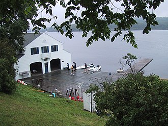 Gales Ferry, Connecticut - The Yale Boathouse and Dock from the embankment above the old ferry landing