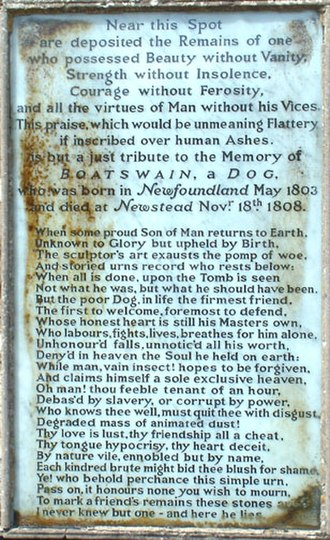Newstead Abbey - The poem Epitaph to a Dog as inscribed on Boatswain's monument