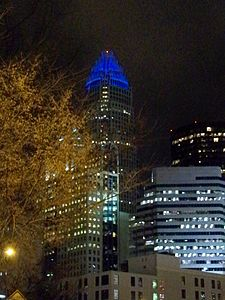 Night view of the Bank of America Tower in Charlotte, NC.